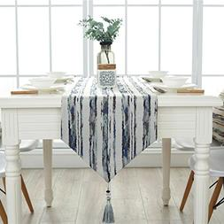 Ethomes Striped Cotton Linen Fabric Table Runner for Wedding