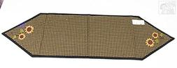 Sunflower Checked Country Primitive Design Table Runner, 13x