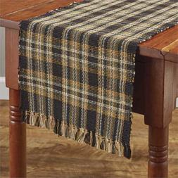 Sunflower in Bloom Table Runner Black Gold Tan Olive Plaid F
