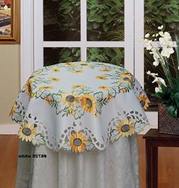 Creative Linens Sunflower Tablecloth Embroidered Cutwork Tab