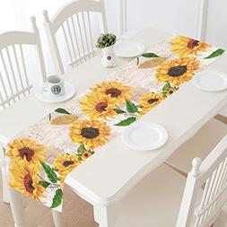InterestPrint Sunflowers Cotton Table Runner Placemat 16 x 7