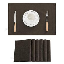SyMax Table Placemats Linen Set of 6 Heat Resistant Fabric T