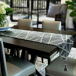 Table Runner 60x13 Gray Geometry Handmade Thickly Linens Hom