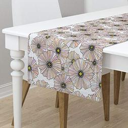 Table Runner - Poppy Poppies Floral Flowers Pastel Blush Pin