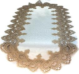 Doily Boutique Table Runner with Gold European Lace and Anti