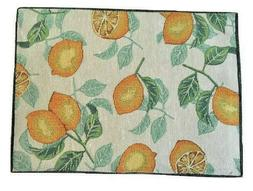Table Runner and 4 Placemats Set Tapestry Lemons Spring NEW