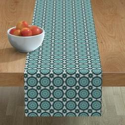 Table Runner Apron Teal Retro Vintage Kitchen Plates Crochet