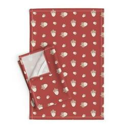 Table Runner Autumn Fall Flowers Linen Cotton Tea Towels by
