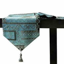 Artbisons Table Runner Blue Abstract 72x13 Thickly Soft