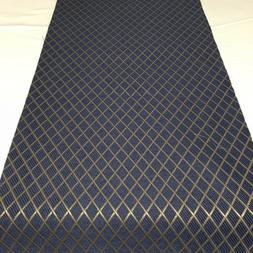 Table Runner Handmade Blue With Gold Diamond Pattern Cotton