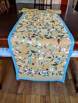 Table Runner - Brand New Fine Cotton Embroidered & with bord