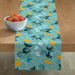 table runner cats mid century modern happy