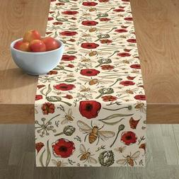 Table Runner Country Floral Bees Artichoke Poppy Nature Bee