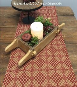 """TABLE RUNNER Deep RED Tan SHADOWBROOK Woven 32"""" x 14"""" Primit"""
