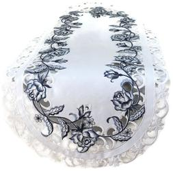Doily Boutique Table Runner, Doily, Mantel Scarf with Blue R