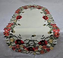Table Runner or Dresser Scarf with Red Poppy Flowers on Anti