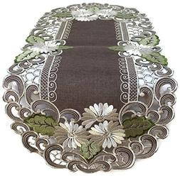 BANBERRY DESIGNS Embroidered Table Runner with Daisy Flowers