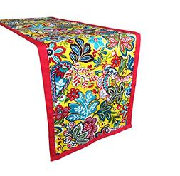 Yoovi Table Runner Floral Red Canvas Rectangular Coffee Dini