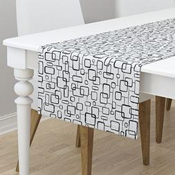 Table Runner - Geometric Geo Retro Black And White Coloring