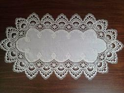 Doily Boutique Table Runner with Antique White European Lace