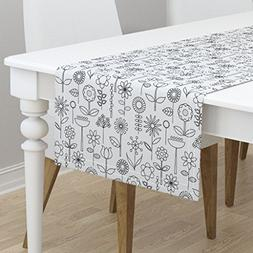 Table Runner - Floral Flower Coloring Book Black And White G