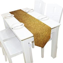 ALAZA Table Runner Home Decor, Vintage Yellow Gold Art Table