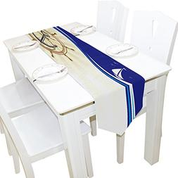 ALAZA Table Runner Home Decor, Stylish Anchor and Steering W