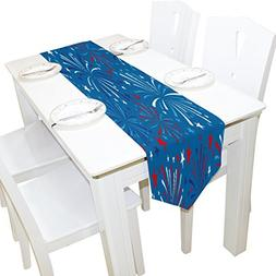 ALAZA Table Runner Home Decor, 4th of July with Fireworks Ta