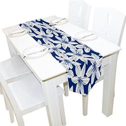 ALAZA Table Runner Home Decor, Navy Tropical Hibiscus Floral