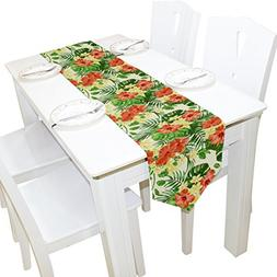 Yochoice Table Runner Home Decor, Vintage Hawaiian Plumeria