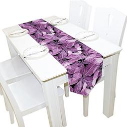 ALAZA Table Runner Home Decor, Stylish Purple Basil Leafs Ve