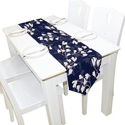 ALAZA Table Runner Home Decor, Vintage Navy Magnolia Flower