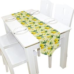 ALAZA Table Runner Home Decor, Vintage Tropical Lemon Fruit