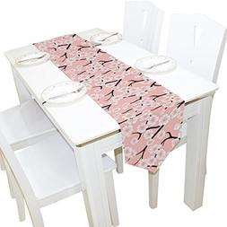 ALAZA Table Runner Home Decor, Vintage Pink Japanese Sakura