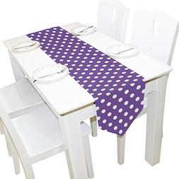 ALAZA Table Runner Home Decor, Purple Lavender Polka Dot Tab
