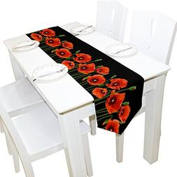 ALAZA Table Runner Home Decor, Stylish Red Poppy Flowers Tab