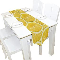 ALAZA Table Runner Home Decor, Stylish Yellow Lemon Slices T