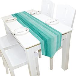 ALAZA Table Runner Home Decor, Teal Turquoise Blue Wood Deck