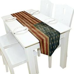 ALAZA Table Runner Home Decor, Vintage American Flag Table C