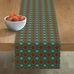 Table Runner Medallions Teal Green Teal Blue Yellow Gold Bro
