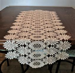 Doily Boutique Table Runner or Doily with Antique White Vene