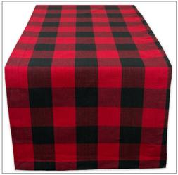 Table Runner Red Black Buffalo Check Plaid Tablecloth 14 x 7