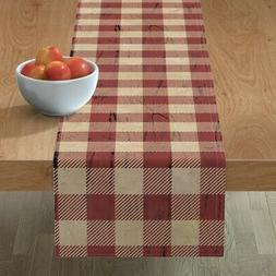 table runner rustic plaid red and tan