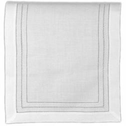 Table Runner White Pure Linen Cloth with Gilucci and Hemstit