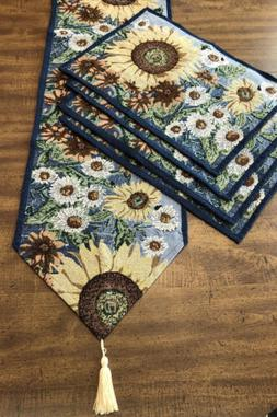 """Tapestry Table Runner 29x12.5"""" And 4 Place Mats Sunflower"""