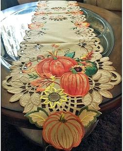"Thanksgiving Fall Table Runner Pumpkins Sunflower Wheat 68""x"