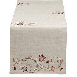 """DII 14x70"""" Polyester Table Runner, Embroidered Autumn Wheat"""