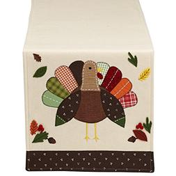 "DII 14x64"" Polyester Table Runner, Embroidered Turkey - Perf"