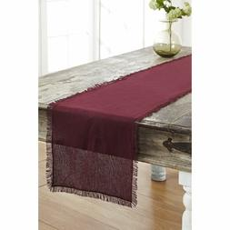 Tobacco Cloth Merlot Runner Fringed 13x48