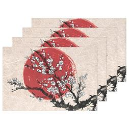 Naanle Traditional Japanese Ink Painting Placemats, Sakura i